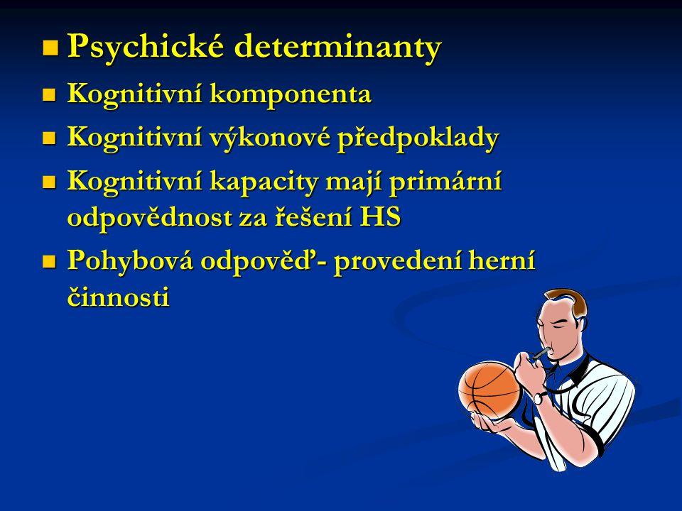Psychické determinanty Kognitivní komponenta Kognitivní výkonové předpoklady Kognitivní kapacity mají primární odpovědnost za řešení HS Pohybová odpověď- provedení herní činnosti