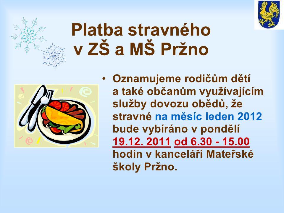Platba stravného v ZŠ a MŠ Pržno Oznamujeme rodičům dětí a také občanům využívajícím služby dovozu obědů, že stravné na měsíc leden 2012 bude vybíráno