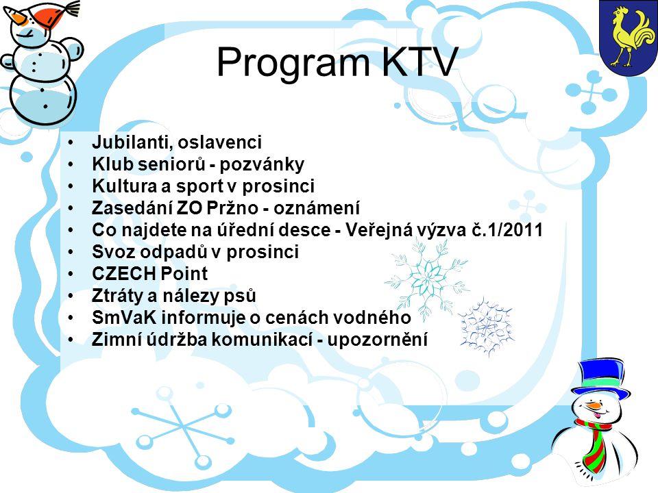 Program KTV Jubilanti, oslavenci Klub seniorů - pozvánky Kultura a sport v prosinci Zasedání ZO Pržno - oznámení Co najdete na úřední desce - Veřejná