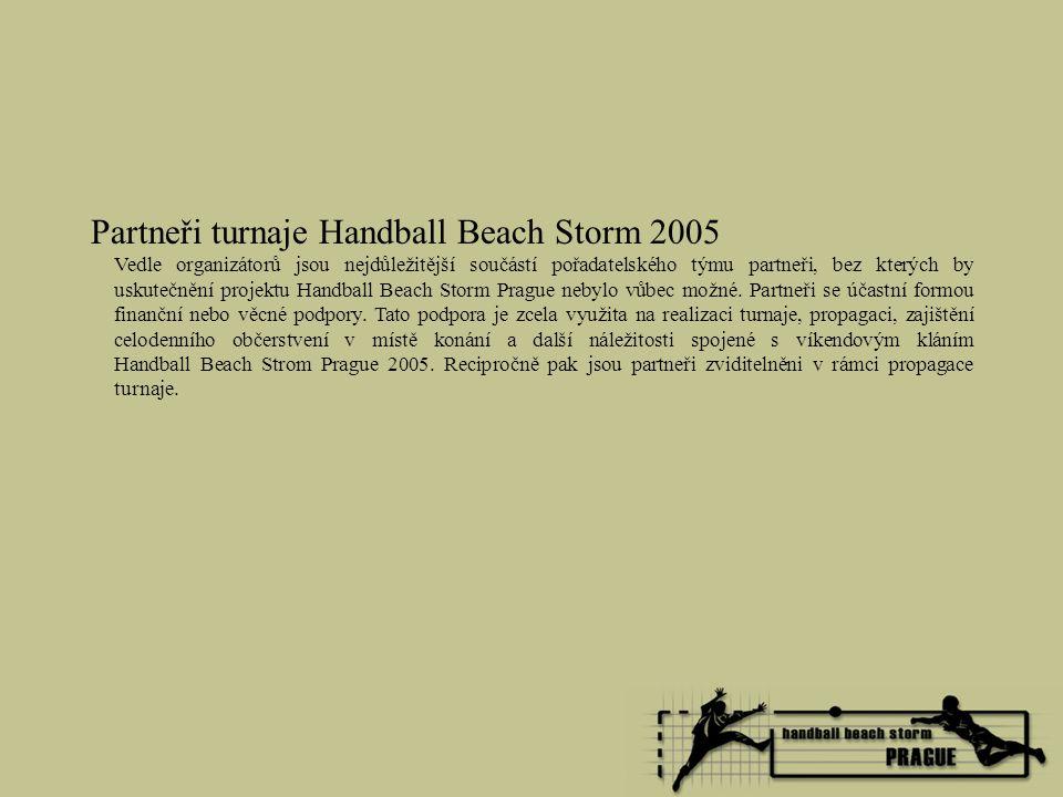 Partneři turnaje Handball Beach Storm 2005 Vedle organizátorů jsou nejdůležitější součástí pořadatelského týmu partneři, bez kterých by uskutečnění pr
