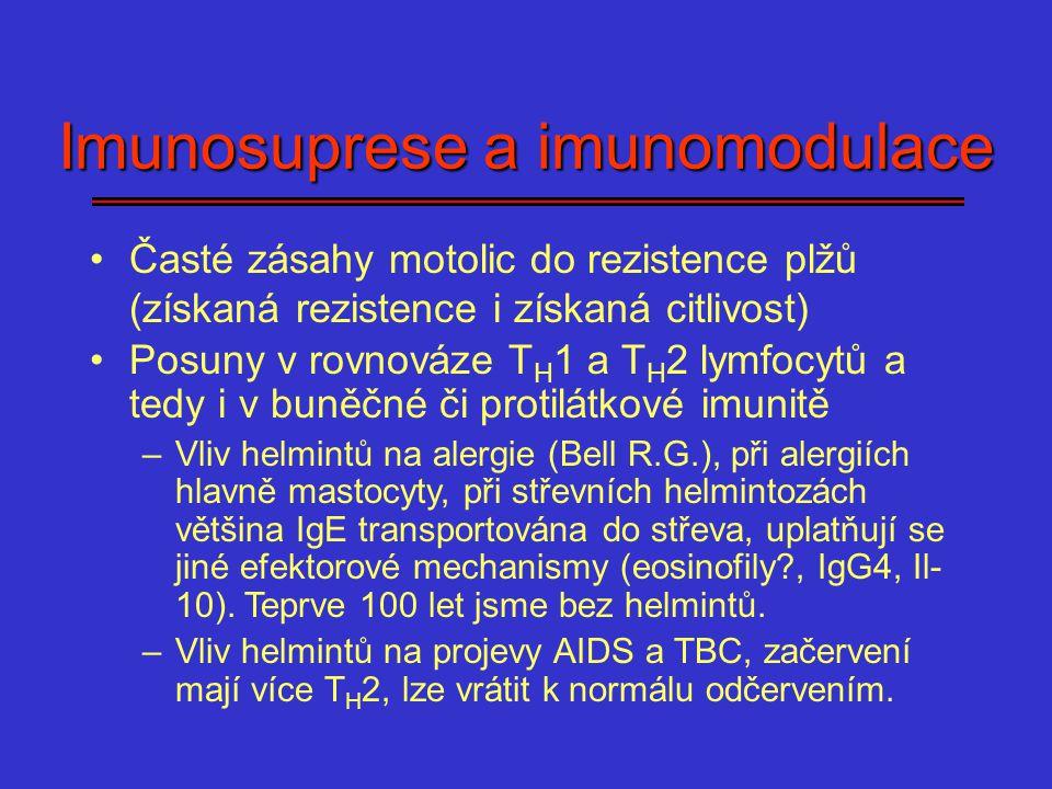 Imunosuprese a imunomodulace Časté zásahy motolic do rezistence plžů (získaná rezistence i získaná citlivost) Posuny v rovnováze T H 1 a T H 2 lymfocy