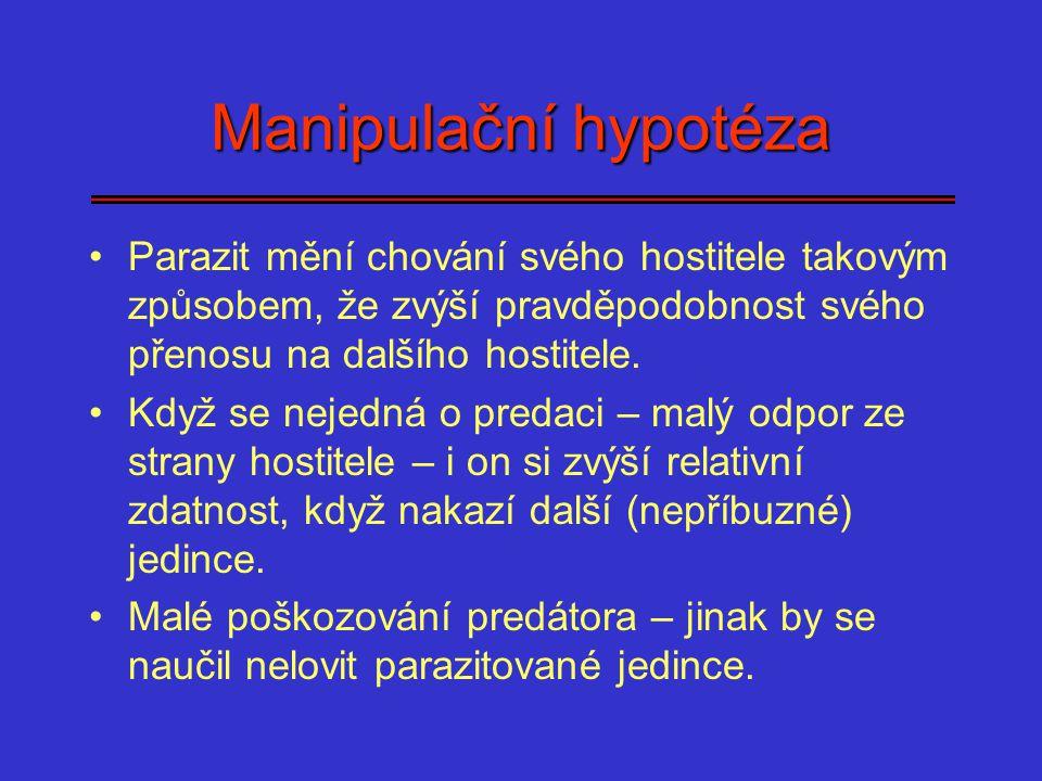 Manipulační hypotéza Parazit mění chování svého hostitele takovým způsobem, že zvýší pravděpodobnost svého přenosu na dalšího hostitele. Když se nejed
