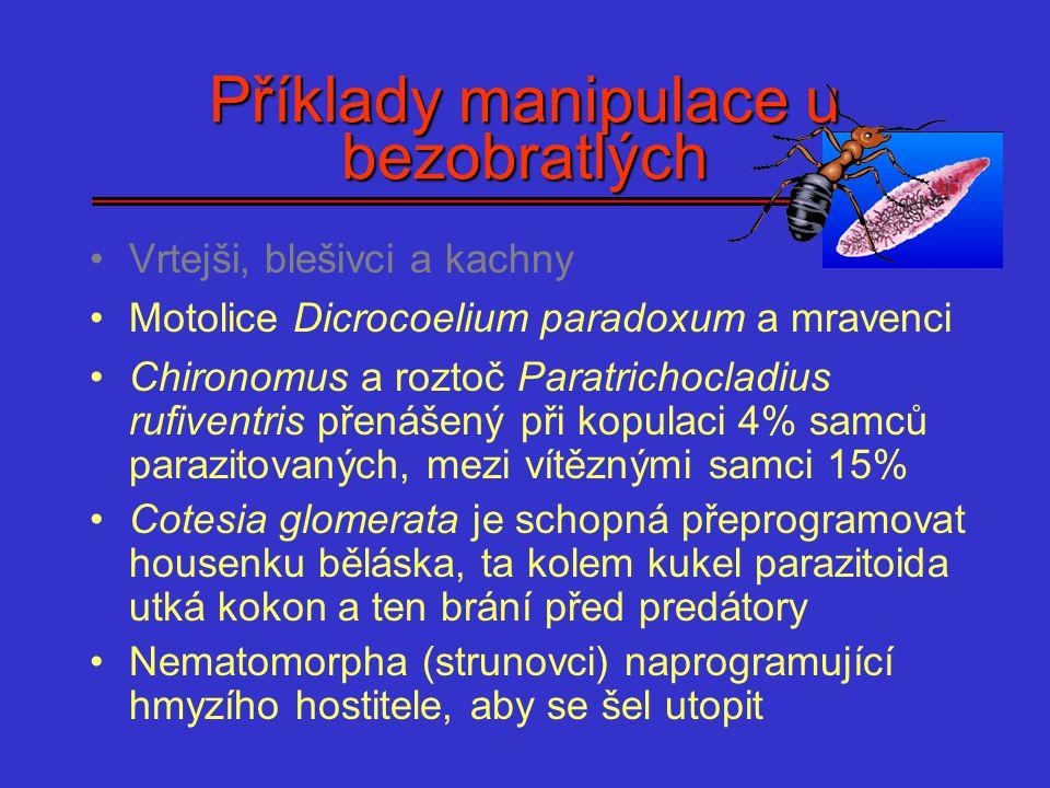 Příklady manipulace u bezobratlých Vrtejši, blešivci a kachny Motolice Dicrocoelium paradoxum a mravenci Chironomus a roztoč Paratrichocladius rufiven