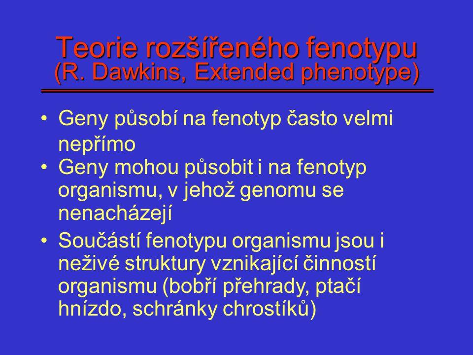 Teorie rozšířeného fenotypu (R. Dawkins, Extended phenotype) Geny působí na fenotyp často velmi nepřímo Geny mohou působit i na fenotyp organismu, v j