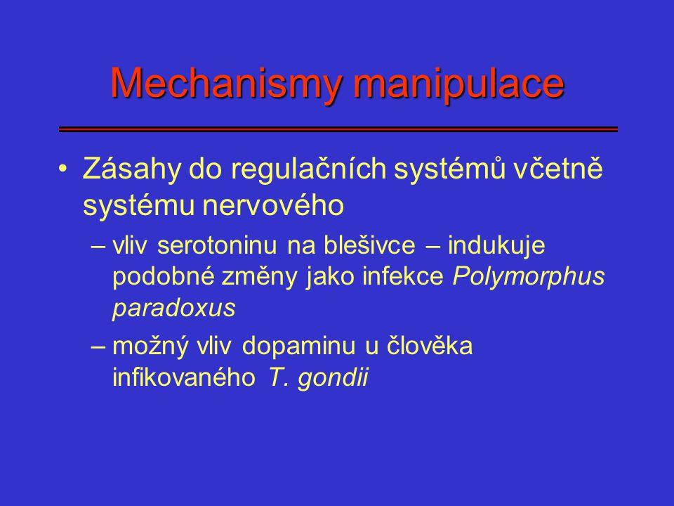 Mechanismy manipulace Zásahy do regulačních systémů včetně systému nervového –vliv serotoninu na blešivce – indukuje podobné změny jako infekce Polymo