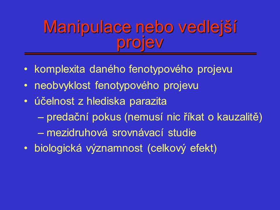 Manipulace nebo vedlejší projev komplexita daného fenotypového projevu neobvyklost fenotypového projevu účelnost z hlediska parazita –predační pokus (