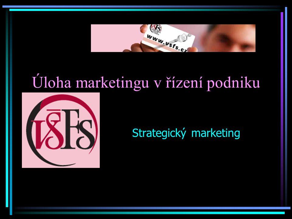 Úloha marketingu v řízení podniku Strategický marketing