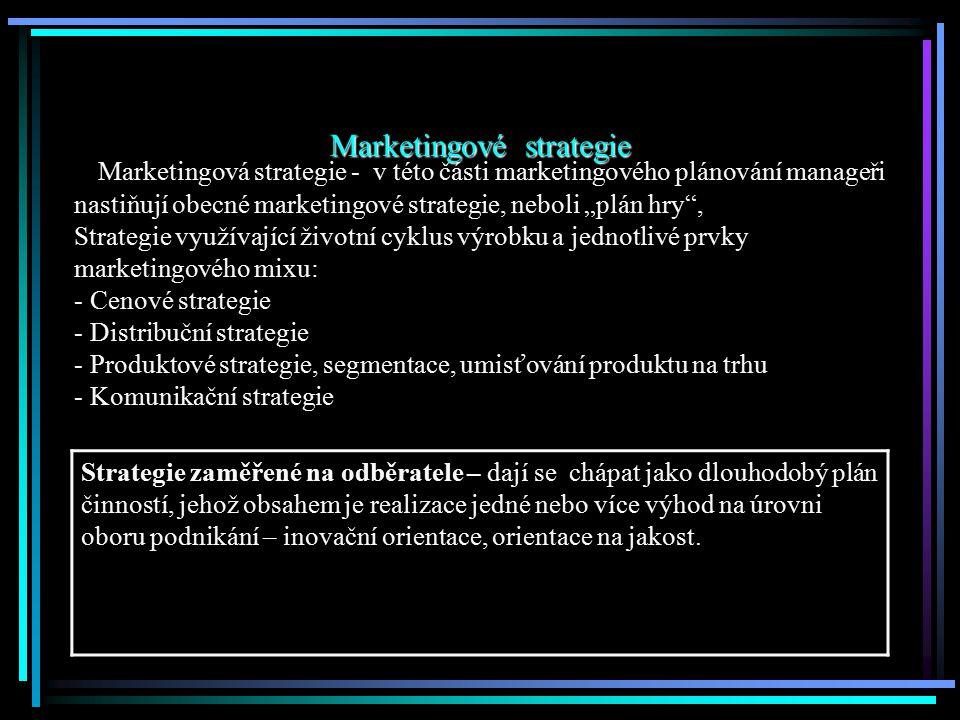 """Marketingové strategie Marketingová strategie - v této části marketingového plánování manageři nastiňují obecné marketingové strategie, neboli """"plán h"""