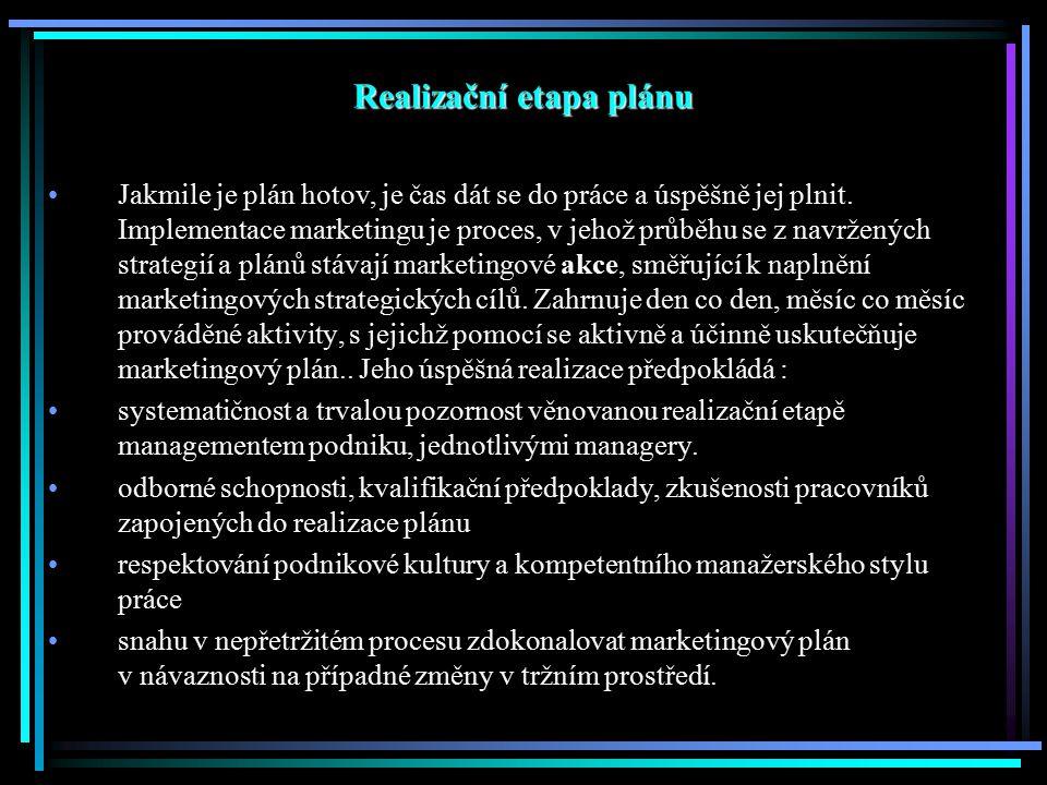 Realizační etapa plánu Jakmile je plán hotov, je čas dát se do práce a úspěšně jej plnit. Implementace marketingu je proces, v jehož průběhu se z navr