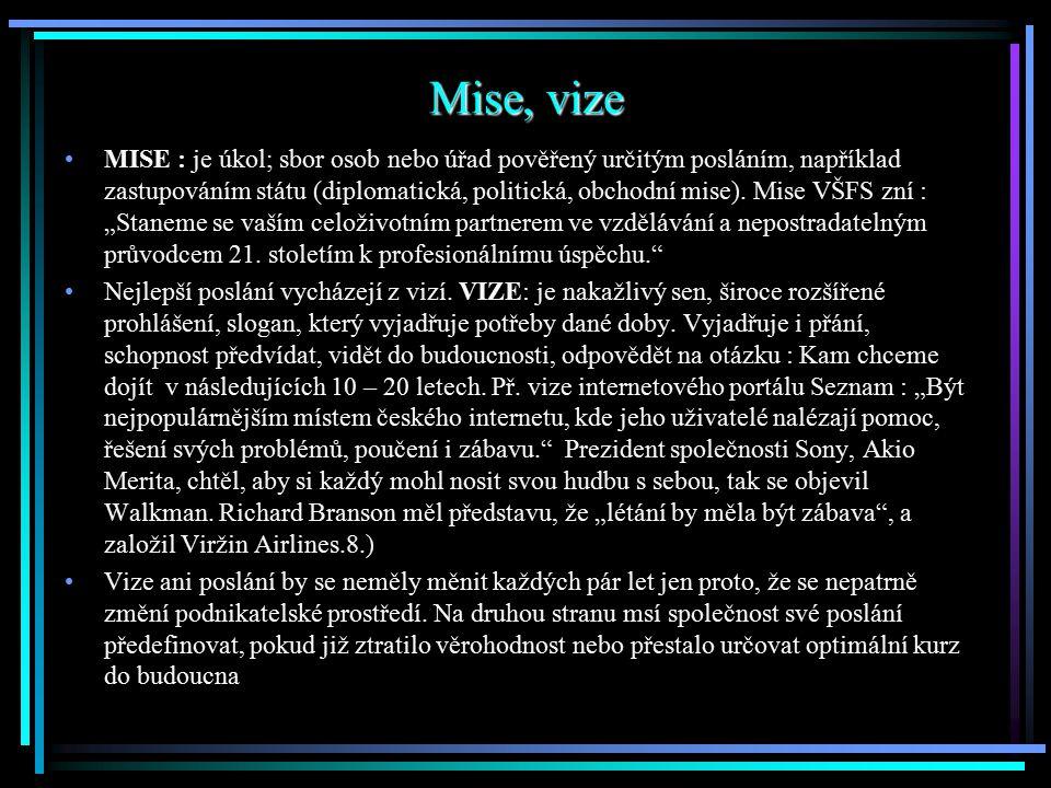 Mise, vize MISE : je úkol; sbor osob nebo úřad pověřený určitým posláním, například zastupováním státu (diplomatická, politická, obchodní mise). Mise