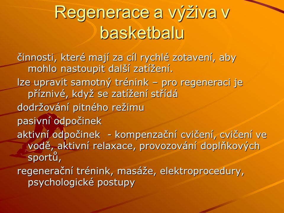 Regenerace a výživa v basketbalu činnosti, které mají za cíl rychlé zotavení, aby mohlo nastoupit další zatížení. lze upravit samotný trénink – pro re