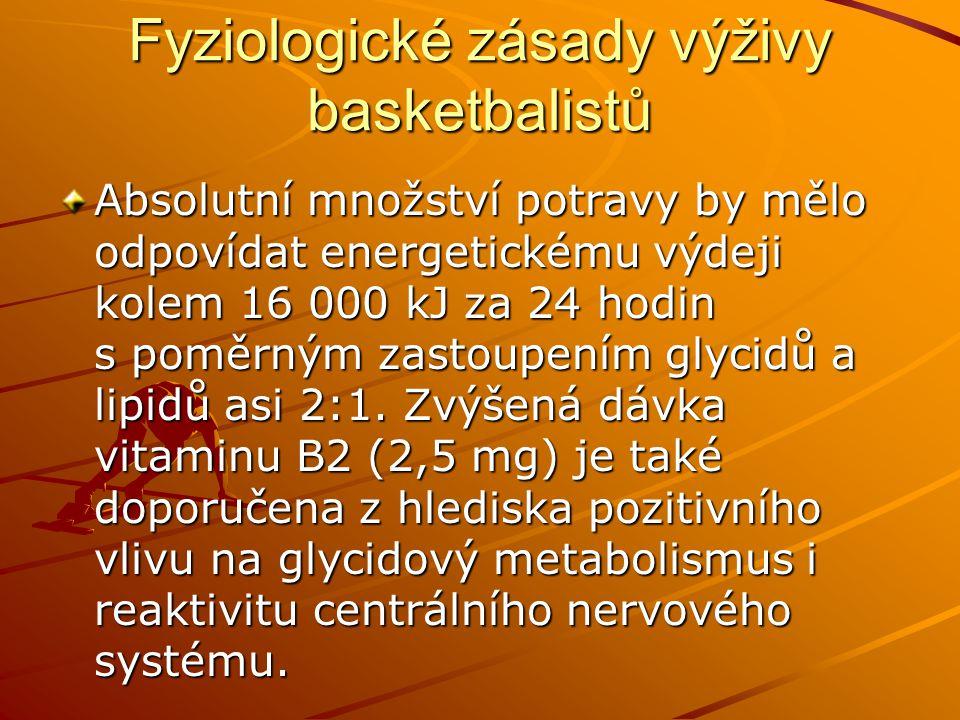 Fyziologické zásady výživy basketbalistů Absolutní množství potravy by mělo odpovídat energetickému výdeji kolem 16 000 kJ za 24 hodin s poměrným zast