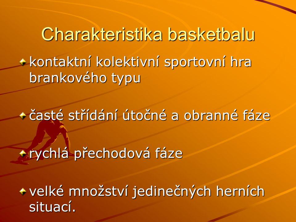 Charakteristika basketbalu kontaktní kolektivní sportovní hra brankového typu časté střídání útočné a obranné fáze rychlá přechodová fáze velké množst