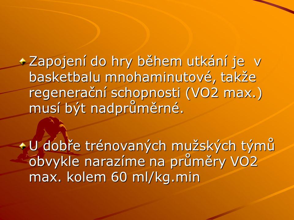 Zapojení do hry během utkání je v basketbalu mnohaminutové, takže regenerační schopnosti (VO2 max.) musí být nadprůměrné. U dobře trénovaných mužských