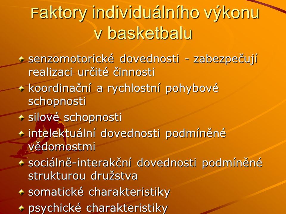 F aktory individuálního výkonu v basketbalu F aktory individuálního výkonu v basketbalu senzomotorické dovednosti - zabezpečují realizaci určité činno