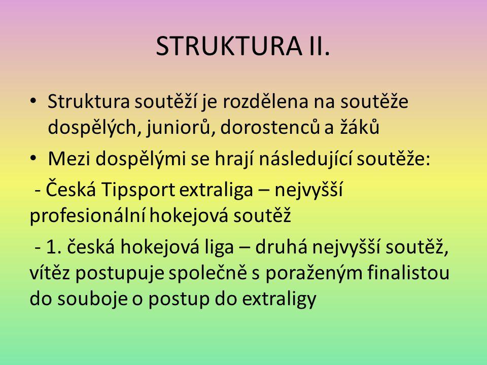 STRUKTURA II. Struktura soutěží je rozdělena na soutěže dospělých, juniorů, dorostenců a žáků Mezi dospělými se hrají následující soutěže: - Česká Tip