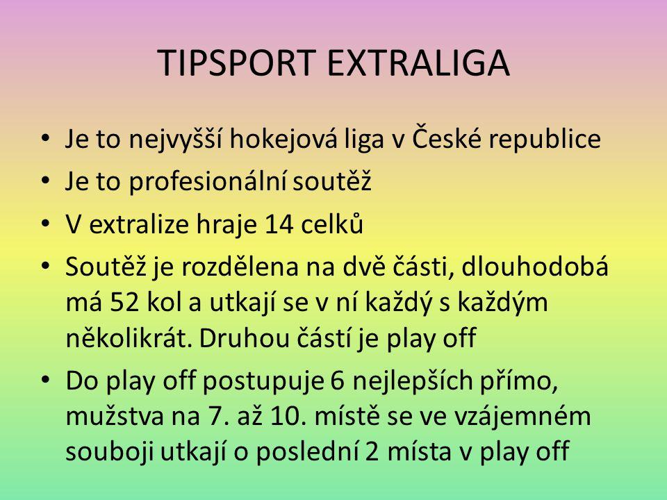 TIPSPORT EXTRALIGA Je to nejvyšší hokejová liga v České republice Je to profesionální soutěž V extralize hraje 14 celků Soutěž je rozdělena na dvě čás