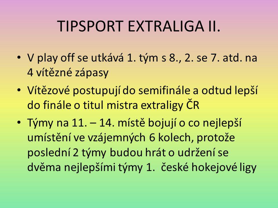 TIPSPORT EXTRALIGA II. V play off se utkává 1. tým s 8., 2. se 7. atd. na 4 vítězné zápasy Vítězové postupují do semifinále a odtud lepší do finále o
