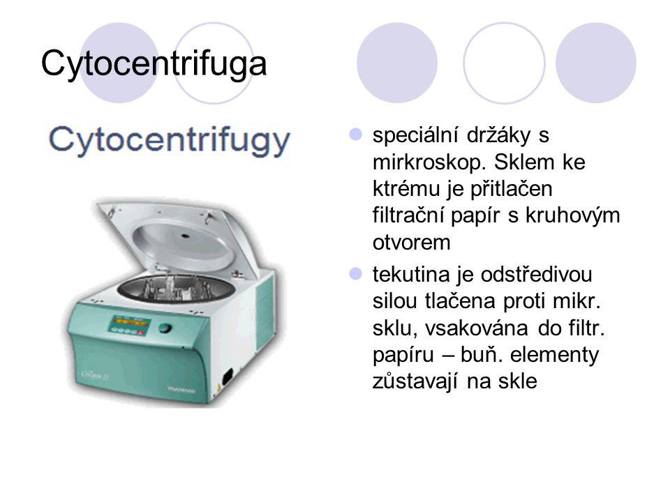 Cytocentrifuga speciální držáky s mirkroskop.