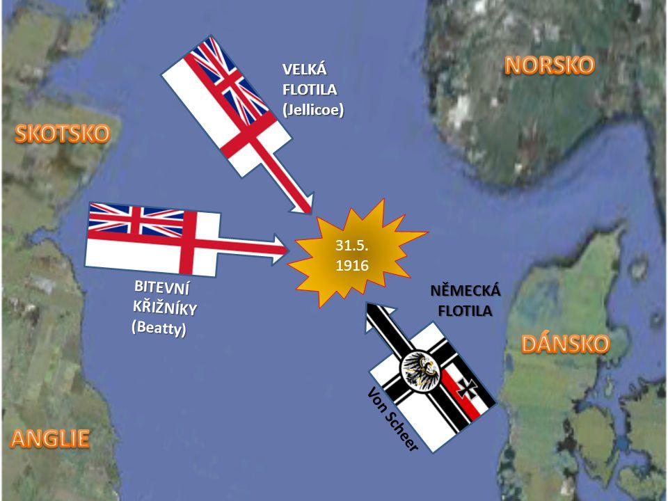 pokus Německa vyprovokovat Brity k souboji na otevřeném moři snaha o uvolnění blokády pobřeží největší námořní bitva první světové války a zároveň jed