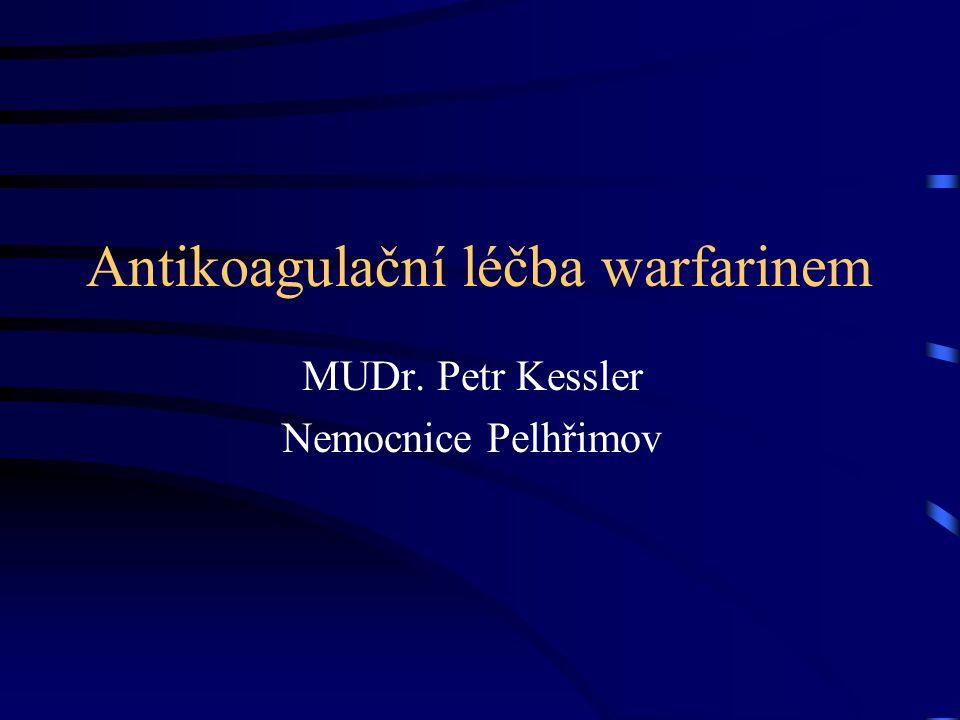 Antikoagulační léčba warfarinem MUDr. Petr Kessler Nemocnice Pelhřimov