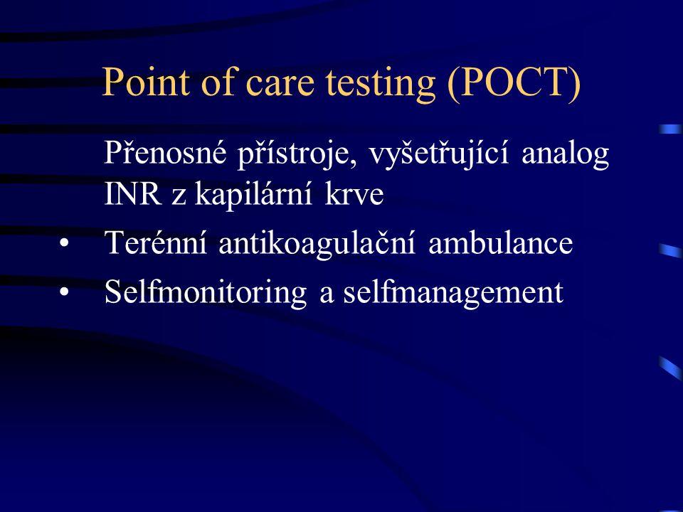 Point of care testing (POCT) Přenosné přístroje, vyšetřující analog INR z kapilární krve Terénní antikoagulační ambulance Selfmonitoring a selfmanagement