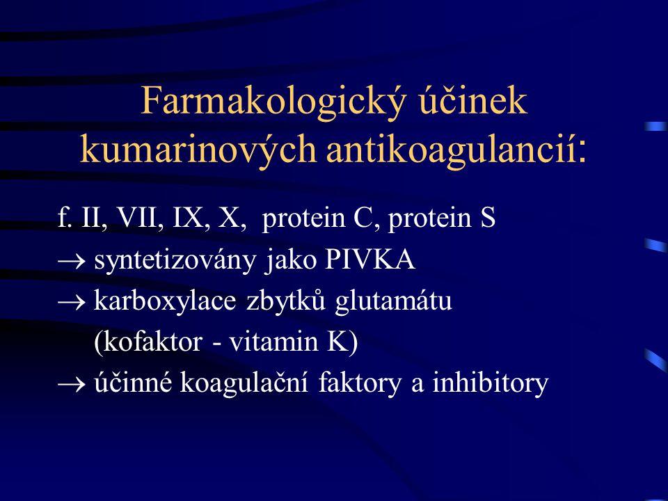Farmakologický účinek kumarinových antikoagulancií : f. II, VII, IX, X, protein C, protein S  syntetizovány jako PIVKA  karboxylace zbytků glutamátu