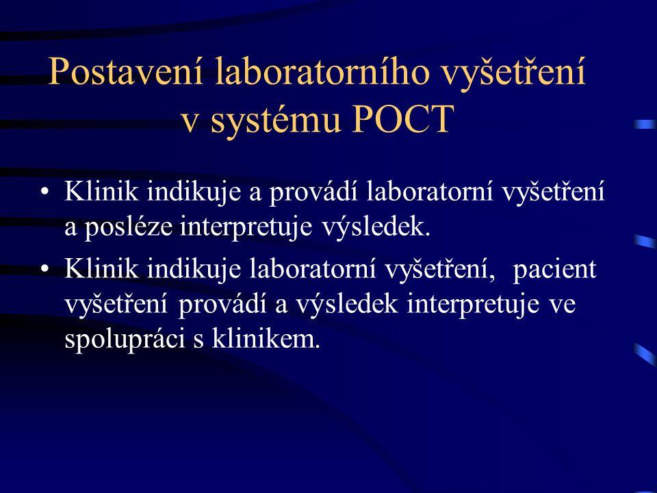 Postavení laboratorního vyšetření v systému POCT Klinik indikuje a provádí laboratorní vyšetření a posléze interpretuje výsledek. Klinik indikuje labo