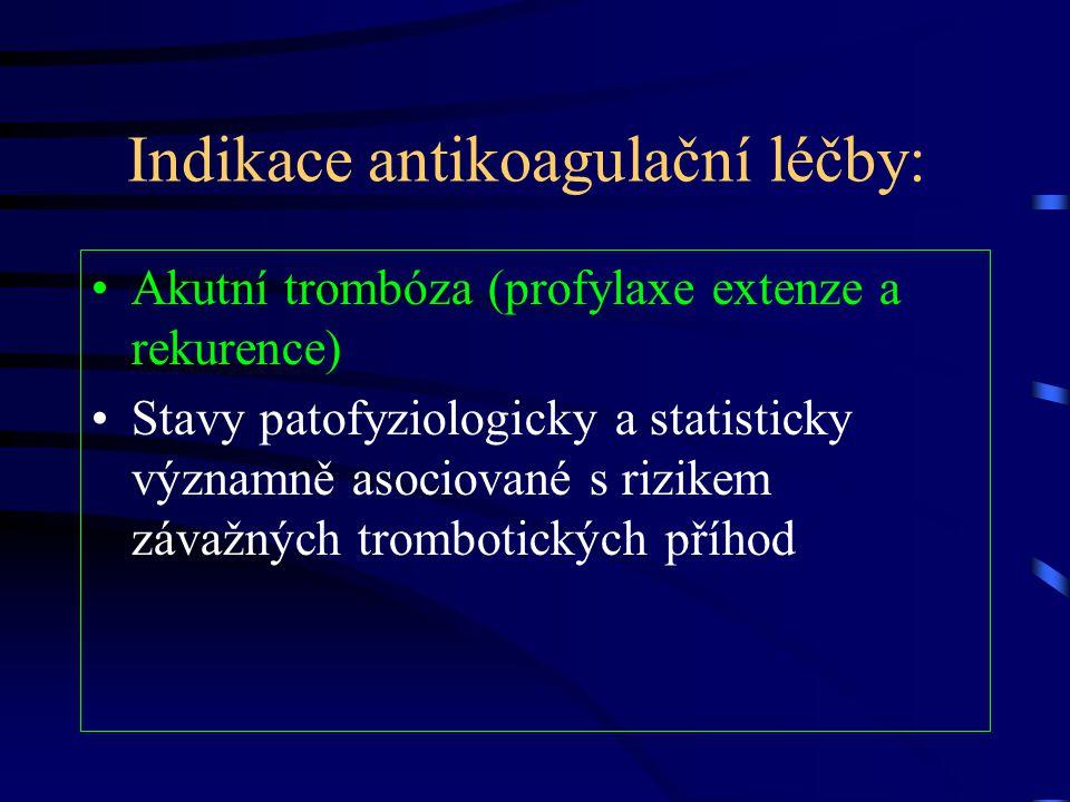 Indikace antikoagulační léčby: Akutní trombóza (profylaxe extenze a rekurence) Stavy patofyziologicky a statisticky významně asociované s rizikem závažných trombotických příhod