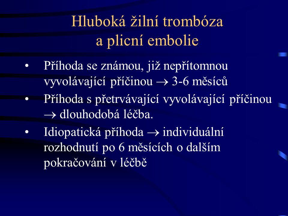 Hluboká žilní trombóza a plicní embolie Příhoda se známou, již nepřítomnou vyvolávající příčinou  3-6 měsíců Příhoda s přetrvávající vyvolávající pří