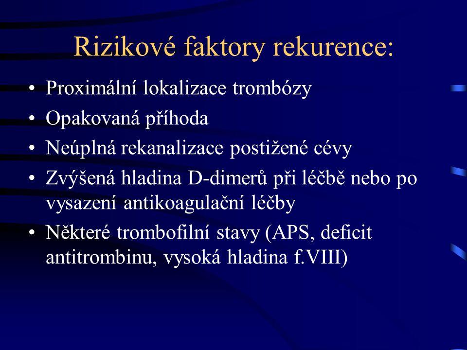 Rizikové faktory rekurence: Proximální lokalizace trombózy Opakovaná příhoda Neúplná rekanalizace postižené cévy Zvýšená hladina D-dimerů při léčbě nebo po vysazení antikoagulační léčby Některé trombofilní stavy (APS, deficit antitrombinu, vysoká hladina f.VIII)
