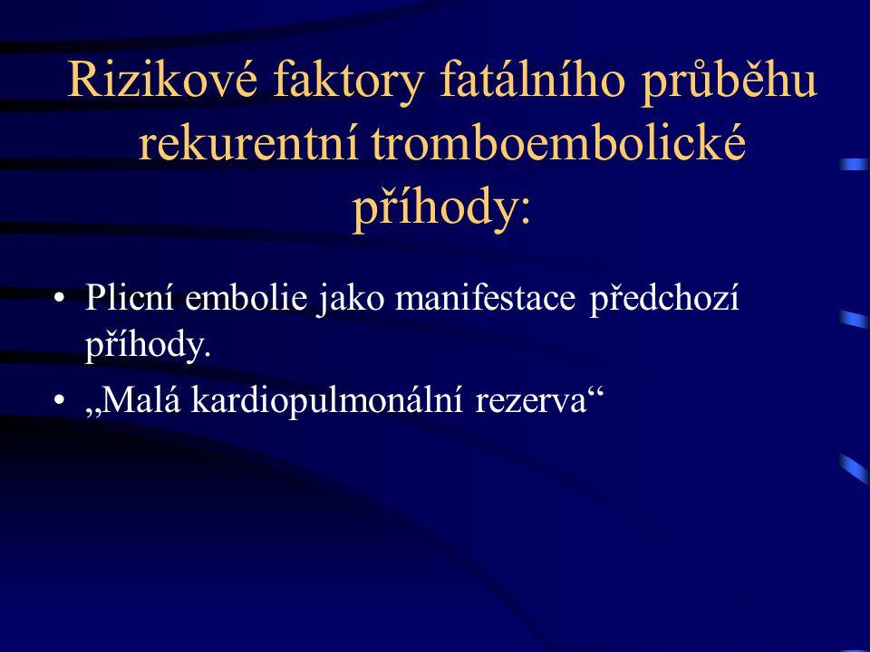 """Rizikové faktory fatálního průběhu rekurentní tromboembolické příhody: Plicní embolie jako manifestace předchozí příhody. """"Malá kardiopulmonální rezer"""