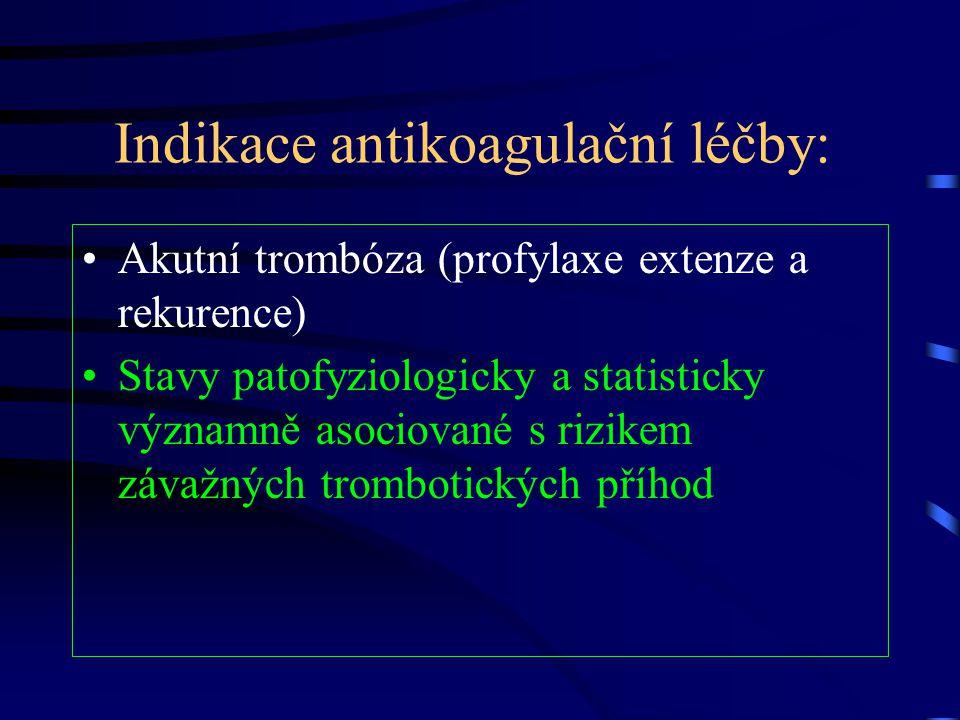 Indikace antikoagulační léčby: Akutní trombóza (profylaxe extenze a rekurence) Stavy patofyziologicky a statisticky významně asociované s rizikem záva