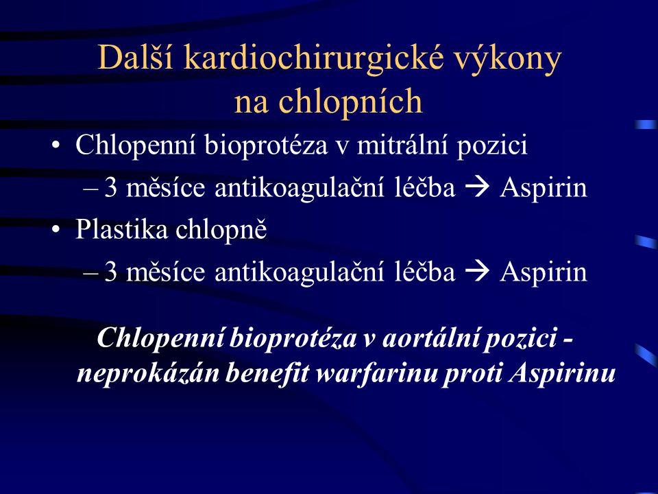 Další kardiochirurgické výkony na chlopních Chlopenní bioprotéza v mitrální pozici –3 měsíce antikoagulační léčba  Aspirin Plastika chlopně –3 měsíce