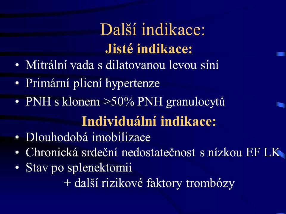 Další indikace: Jisté indikace: Mitrální vada s dilatovanou levou síní Primární plicní hypertenze PNH s klonem >50% PNH granulocytů Individuální indikace: Dlouhodobá imobilizace Chronická srdeční nedostatečnost s nízkou EF LK Stav po splenektomii + další rizikové faktory trombózy