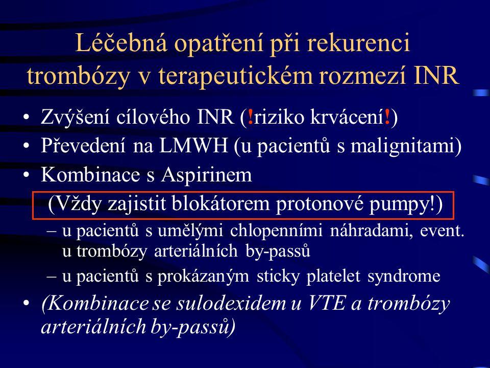 Léčebná opatření při rekurenci trombózy v terapeutickém rozmezí INR Zvýšení cílového INR (!riziko krvácení!) Převedení na LMWH (u pacientů s malignita