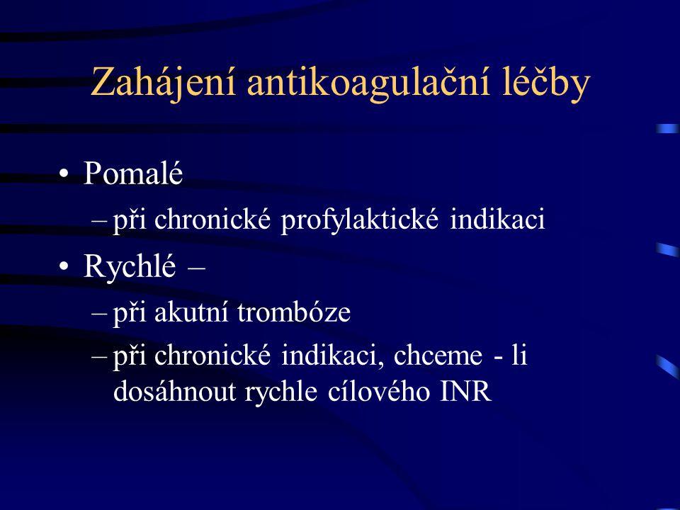 Zahájení antikoagulační léčby Pomalé –při chronické profylaktické indikaci Rychlé – –při akutní trombóze –při chronické indikaci, chceme - li dosáhnout rychle cílového INR