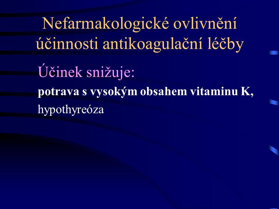 Nefarmakologické ovlivnění účinnosti antikoagulační léčby Účinek snižuje: potrava s vysokým obsahem vitaminu K, hypothyreóza