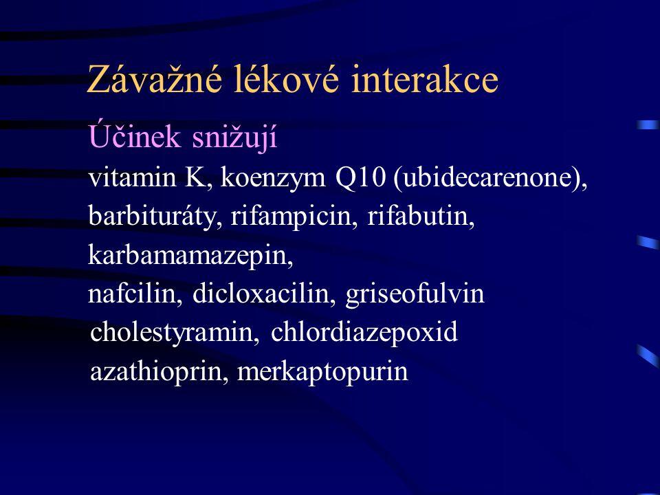 Závažné lékové interakce Účinek snižují vitamin K, koenzym Q10 (ubidecarenone), barbituráty, rifampicin, rifabutin, karbamamazepin, nafcilin, dicloxacilin, griseofulvin cholestyramin, chlordiazepoxid azathioprin, merkaptopurin