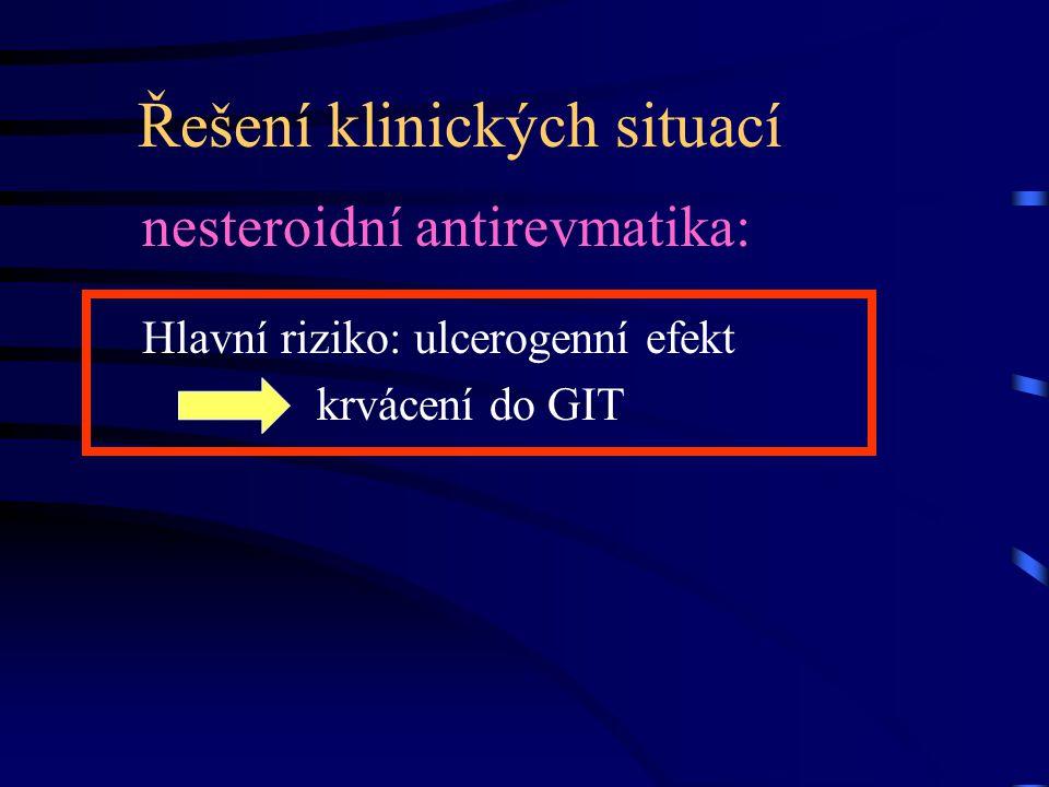 Řešení klinických situací nesteroidní antirevmatika: Hlavní riziko: ulcerogenní efekt krvácení do GIT