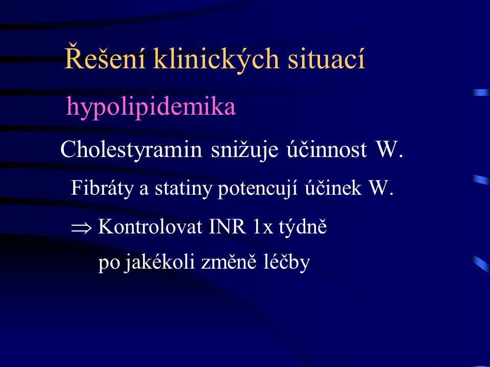 Řešení klinických situací hypolipidemika Cholestyramin snižuje účinnost W. Fibráty a statiny potencují účinek W.  Kontrolovat INR 1x týdně po jakékol