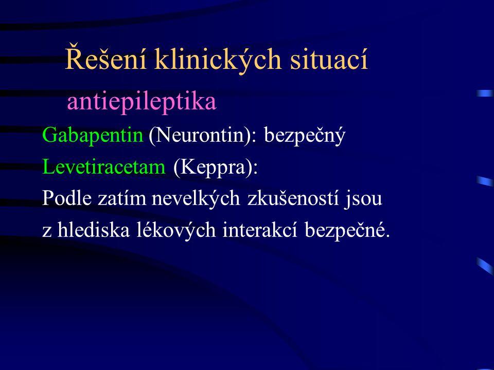 Řešení klinických situací antiepileptika Gabapentin (Neurontin): bezpečný Levetiracetam (Keppra): Podle zatím nevelkých zkušeností jsou z hlediska lékových interakcí bezpečné.