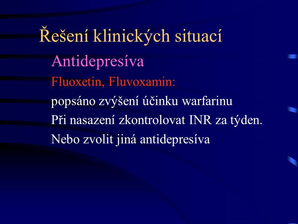 Řešení klinických situací Antidepresíva Fluoxetin, Fluvoxamin: popsáno zvýšení účinku warfarinu Při nasazení zkontrolovat INR za týden. Nebo zvolit ji