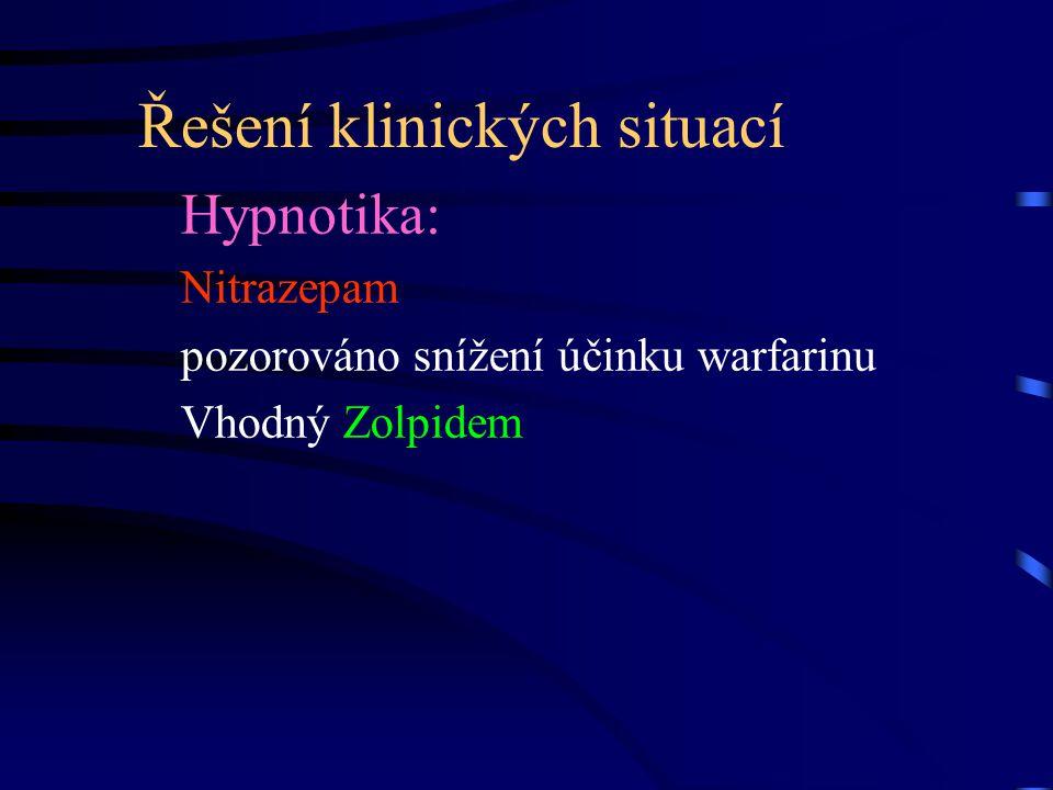 Řešení klinických situací Hypnotika: Nitrazepam pozorováno snížení účinku warfarinu Vhodný Zolpidem
