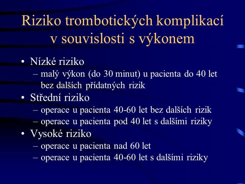 Riziko trombotických komplikací v souvislosti s výkonem Nízké riziko –malý výkon (do 30 minut) u pacienta do 40 let bez dalších přídatných rizik Střední riziko –operace u pacienta 40-60 let bez dalších rizik –operace u pacienta pod 40 let s dalšími riziky Vysoké riziko –operace u pacienta nad 60 let –operace u pacienta 40-60 let s dalšími riziky
