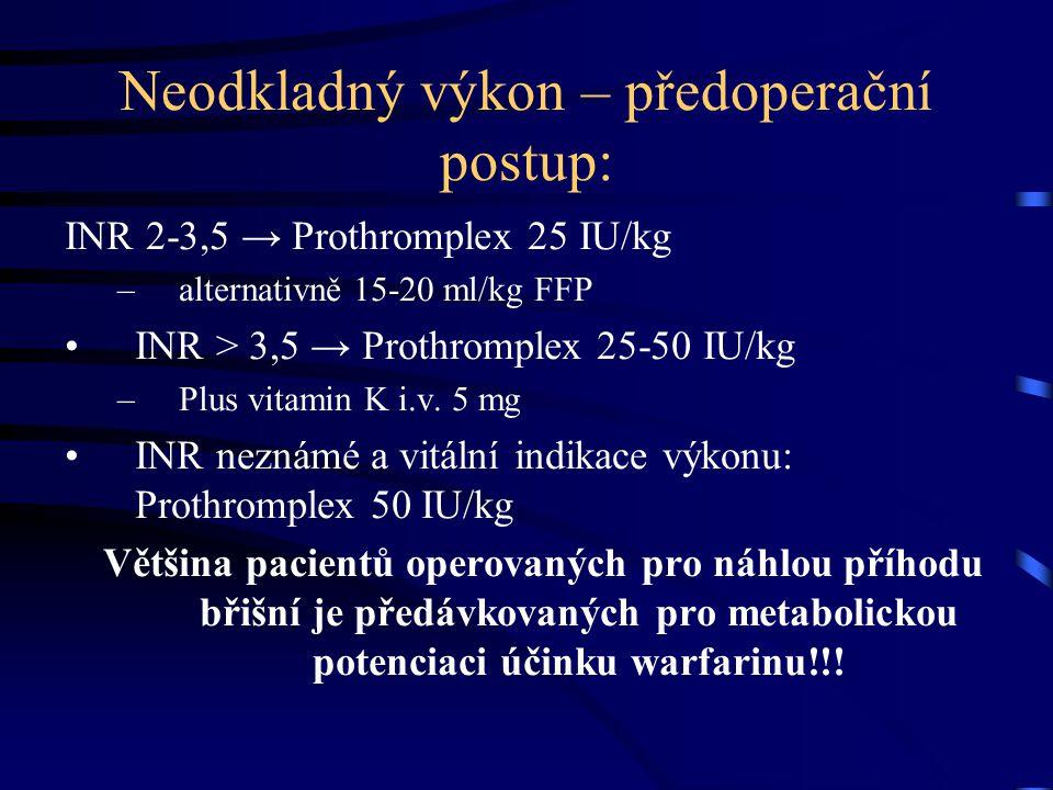 Neodkladný výkon – předoperační postup: INR 2-3,5 → Prothromplex 25 IU/kg –alternativně 15-20 ml/kg FFP INR > 3,5 → Prothromplex 25-50 IU/kg –Plus vitamin K i.v.