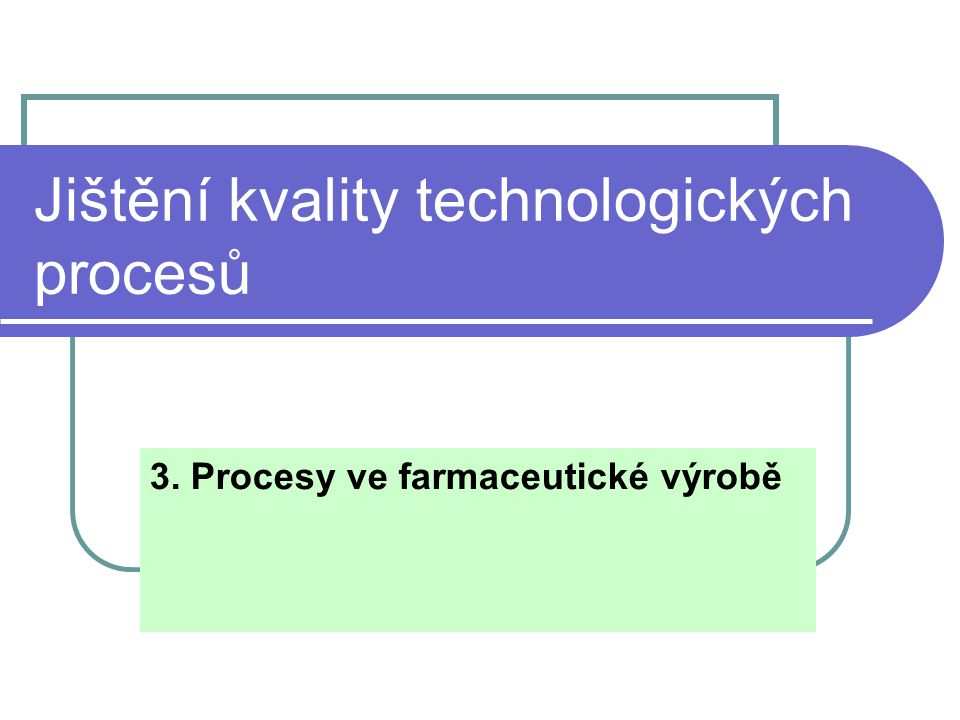 Jištění kvality technologických procesů 3. Procesy ve farmaceutické výrobě