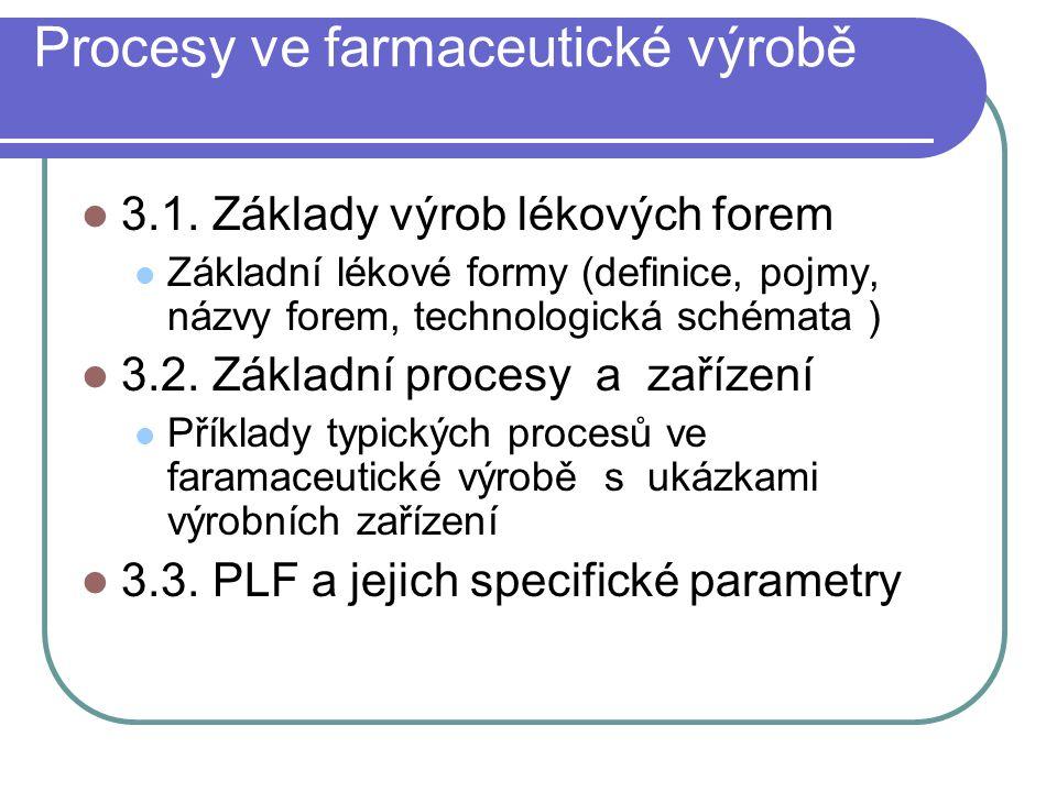 Procesy ve farmaceutické výrobě 3.1. Základy výrob lékových forem Základní lékové formy (definice, pojmy, názvy forem, technologická schémata ) 3.2. Z