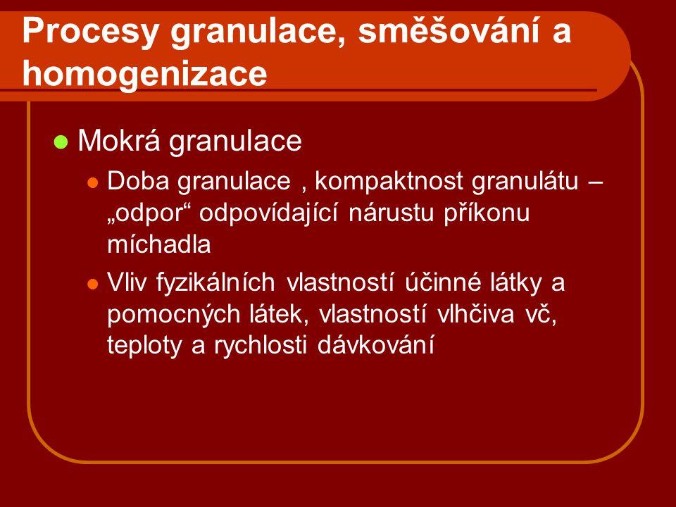 """Procesy granulace, směšování a homogenizace Mokrá granulace Doba granulace, kompaktnost granulátu – """"odpor"""" odpovídající nárustu příkonu míchadla Vliv"""