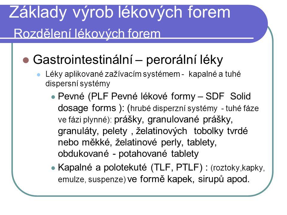 Základy výrob lékových forem Rozdělení lékových forem Gastrointestinální – perorální léky Léky aplikované zažívacím systémem - kapalné a tuhé dispersn
